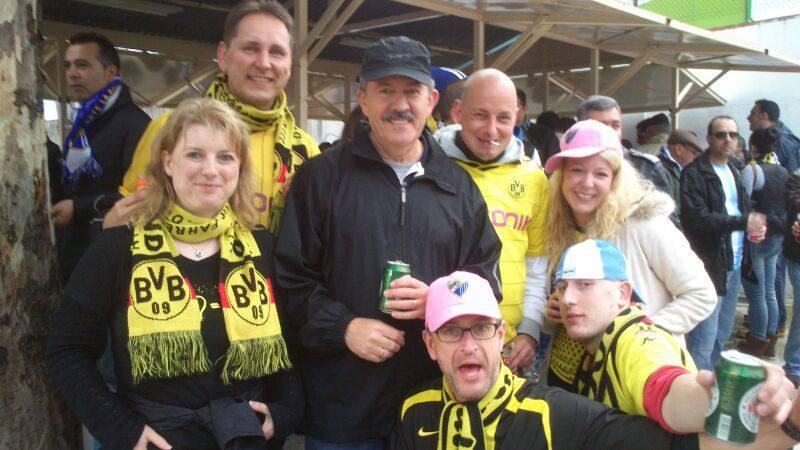 Aficionados malaguistas en el Málaga-Borussia (03-04-13)
